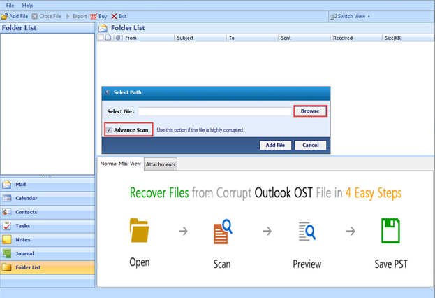 How to use Advanced Scan feature of MS Outlook Recovery