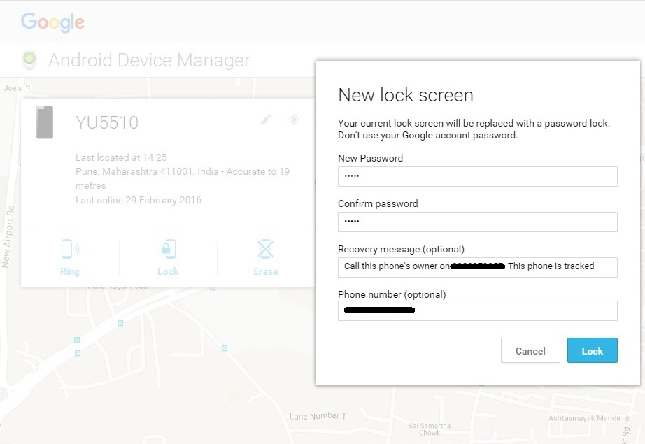 lock android via ADM or Android Device Manager