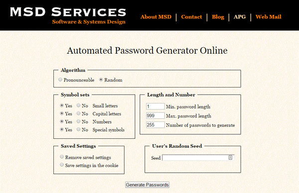 MSD Services Password Generator