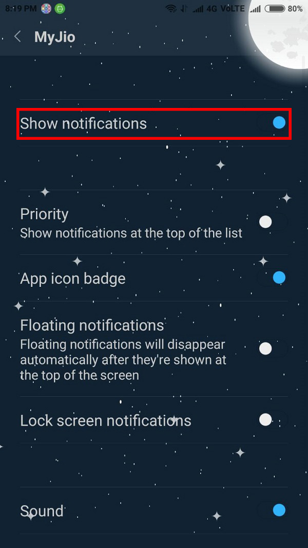 Disable Jio Notifications